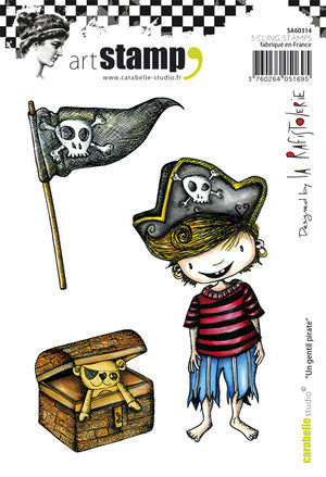 Carabelle Studio - Rubber Cling Stamp Set A6 - Cute Pirate - La Rafistolerie