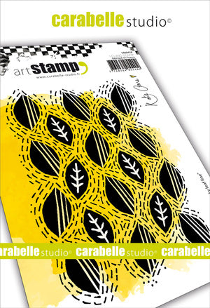 Carabelle Studio - Rubber Cling Stamp Set A6 - Wonky Leaf Line - Kate Crane
