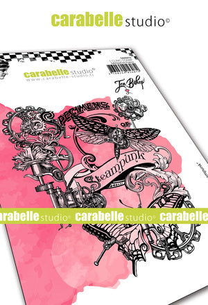 Carabelle Studio - Rubber Cling Stamp A6 -Steampunk Collage - Jen Bishop