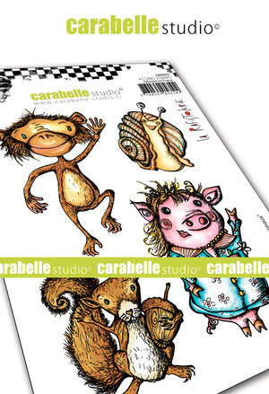 Carabelle Studio - Rubber Cling Stamp Set A6 - Funny Animals - La Rafistolerie