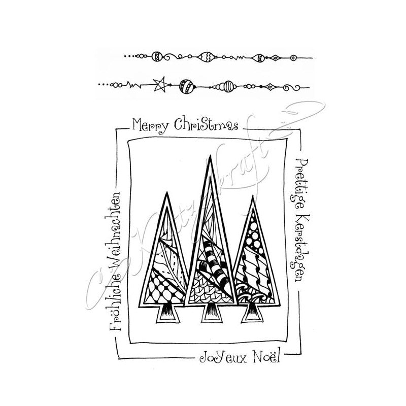 Katzelkraft - KTZ128 - Unmounted Red Rubber Stamp - Sapins de Noël - Christmas Trees