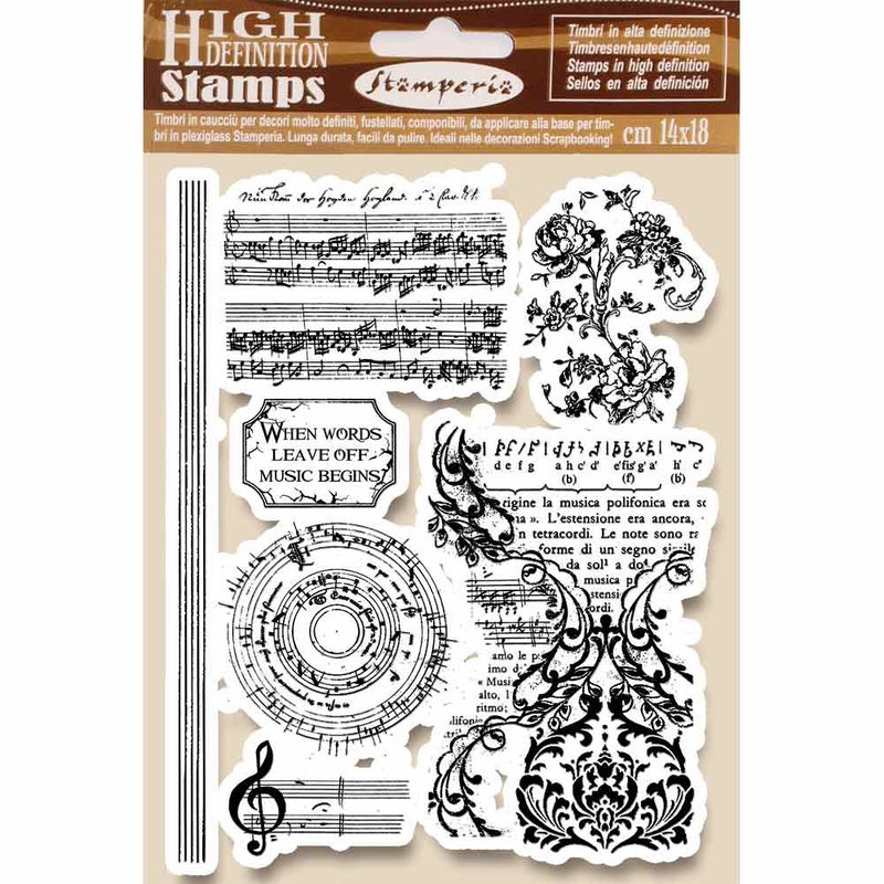 Stamperia - A5 - Foam Mounted Stamp Set - Music Beginnings
