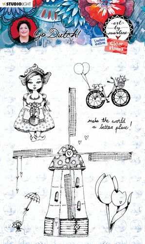Studio Light - Art By Marlene -  Go Dutch - A6 Clear Stamp Set - MPBM55 - Windmill