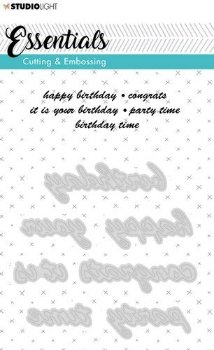 Studio Light - Essentials Cutting & Embossing Dies - 187 - Birthday, Congrats, Party
