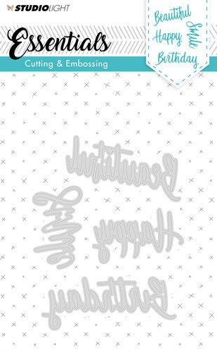 Studio Light - Essentials Cutting & Embossing Dies - 163 - Beautiful, Smile, Happy, Birthday