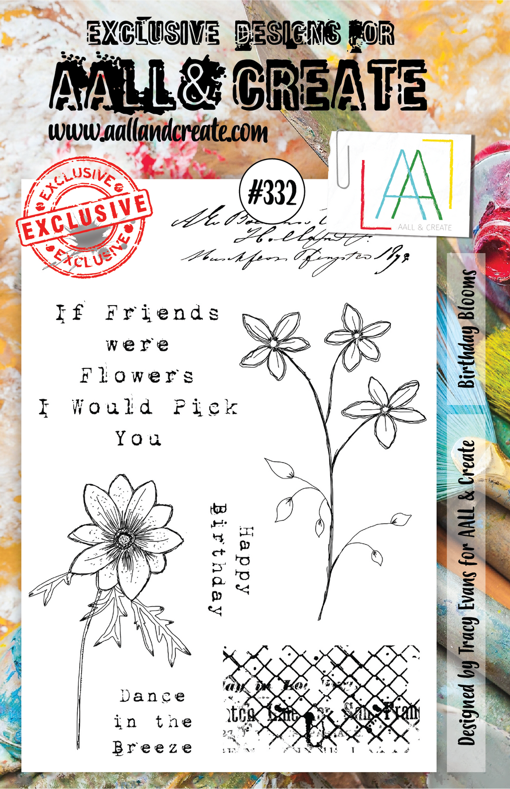AALL & Create - Clear Stamp Set - A5 - #332 - Birthday Blooms - Tracy Evans