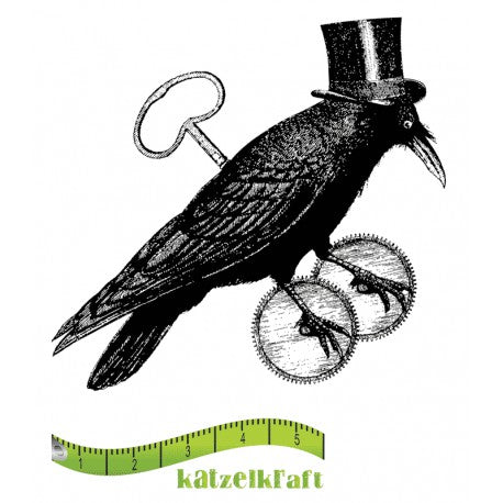 Katzelkraft - Steampunk Raven -  Unmounted Red Rubber Stamp