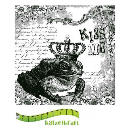 Katzelkraft - SOLO50 - Unmounted Red Rubber Stamp - Kiss Me - Frog with Crown