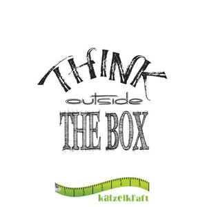 Katzelkraft - Think Outside the Box -  Unmounted Red Rubber Stamp