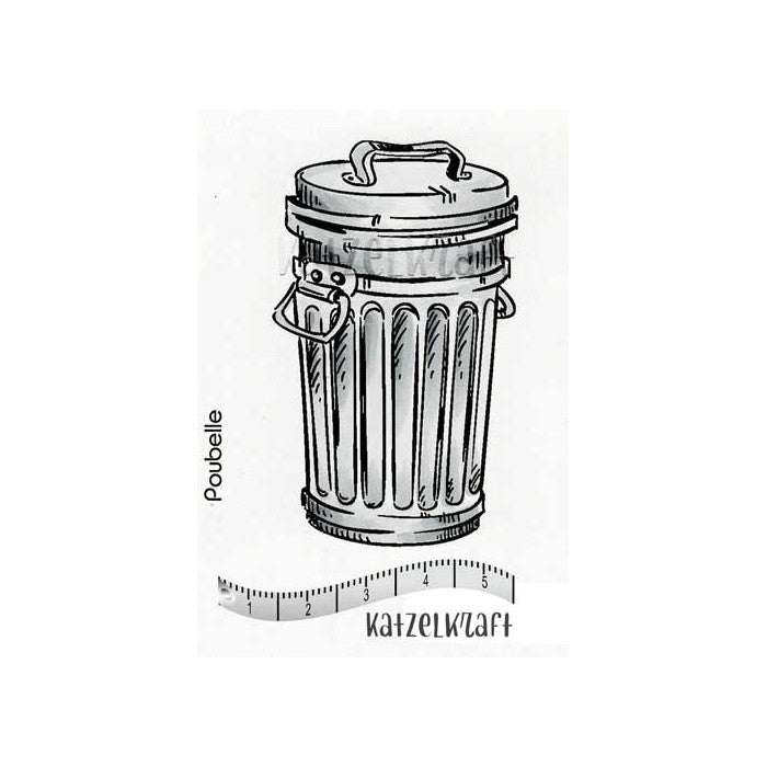 Katzelkraft - Garbage Can - Unmounted Red Rubber Stamp