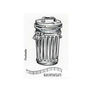 Katzelkraft - SOLO107 - Unmounted Red Rubber Stamp - Garbage Can