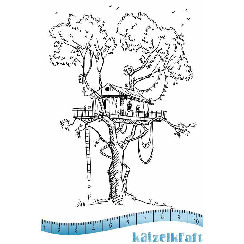 Katzelkraft - Tree House - Unmounted Red Rubber Stamp Set