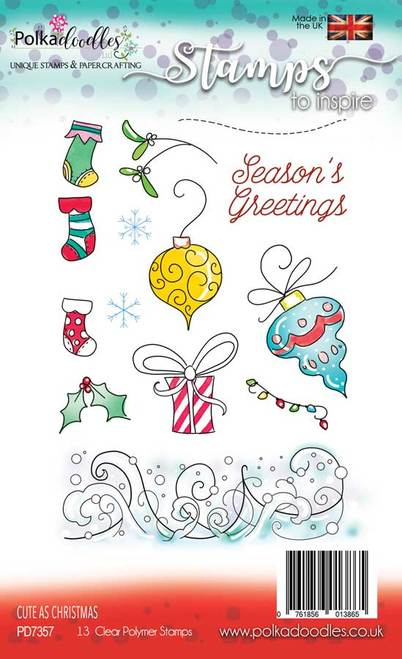 Polkadoodles - Clear Polymer Stamp Set - A6 - Cute as Christmas