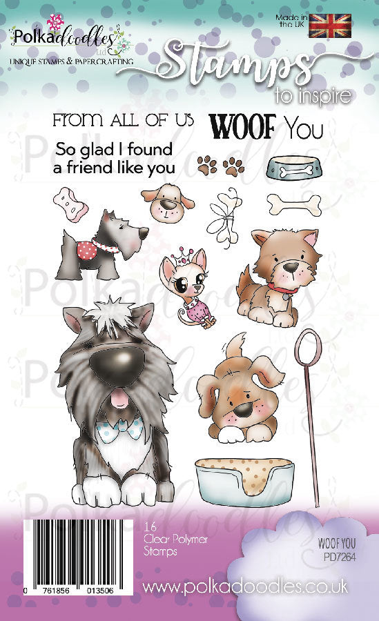 Polkadoodles - Clear Polymer Stamp Set - A6 - Woof You