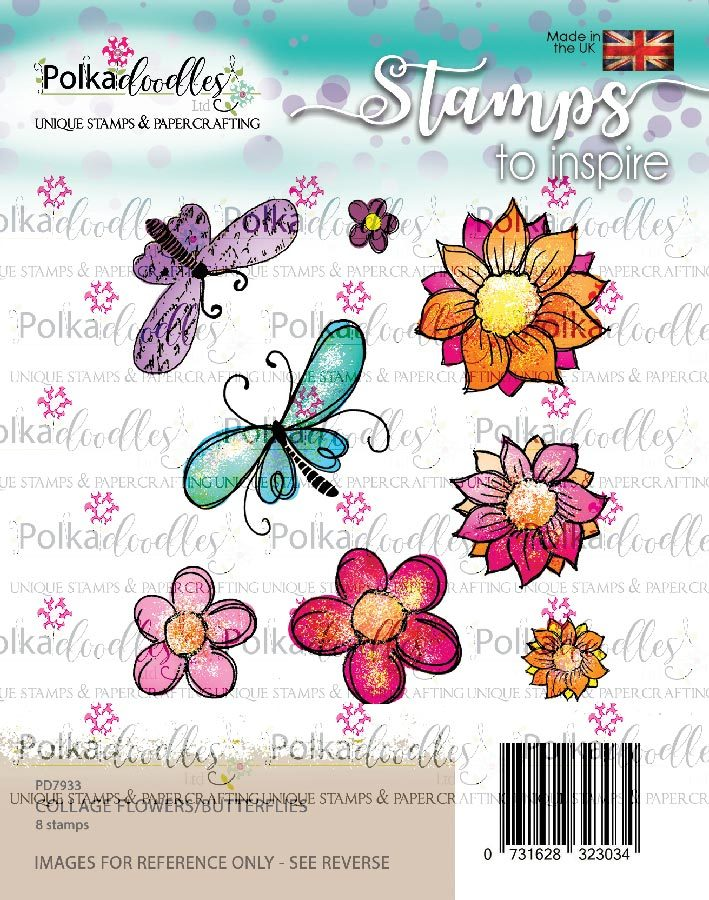 Polkadoodles - Clear Polymer Stamp Set - A6 - Collage Flowers with Butterflies