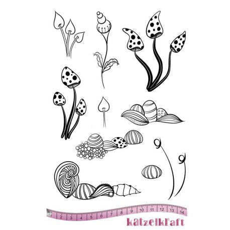 Katzelkraft - Whimsical Flowers - Unmounted Red Rubber Stamp Set
