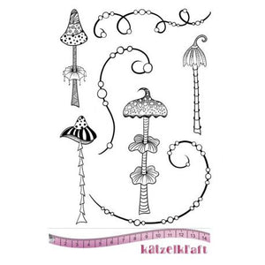 Katzelkraft - Whimsical Mushrooms - Unmounted Red Rubber Stamp Set
