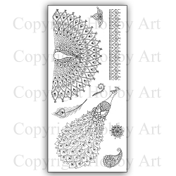 Hobby Art Stamps - Clear Polymer Stamp Set - Janie's Collection - Peacock