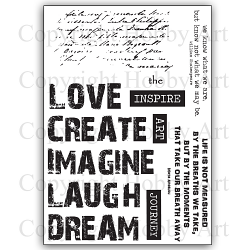 Hobby Art Stamps - Clear Polymer Stamp Set - A5 - Words