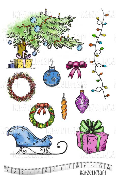 Katzelkraft - KTZ214 - Unmounted Red Rubber Stamp Set A5 - Christmas Holiday Accessories & More