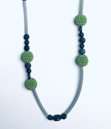Green and Black Rubber Artist-Designed Necklace