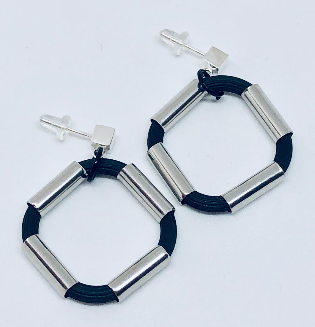 Shiny Square Rubber and Stainless Earrings
