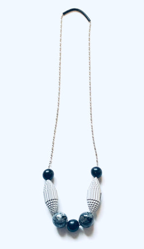 Paper & Silver Ballchain Necklace