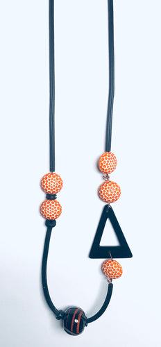 Rubber/Orange & Black Necklace