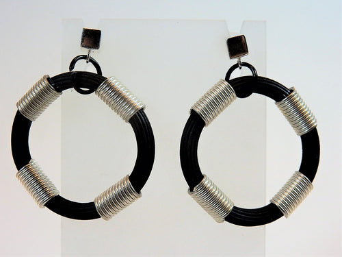 Rubber Round Silver & Black Earrings