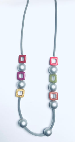 Multi-colored Contemporary Rubber Necklace