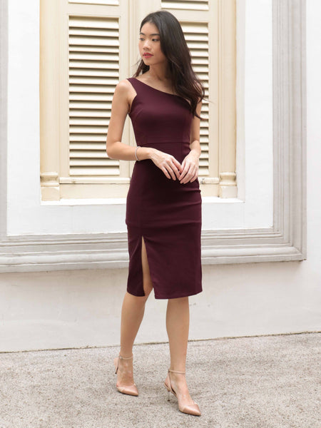 Judy Toga Slit Dress V2 in Plum