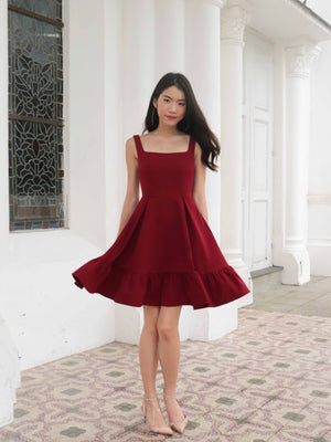 Ariel Ruffles Dress V2 in Wine Red