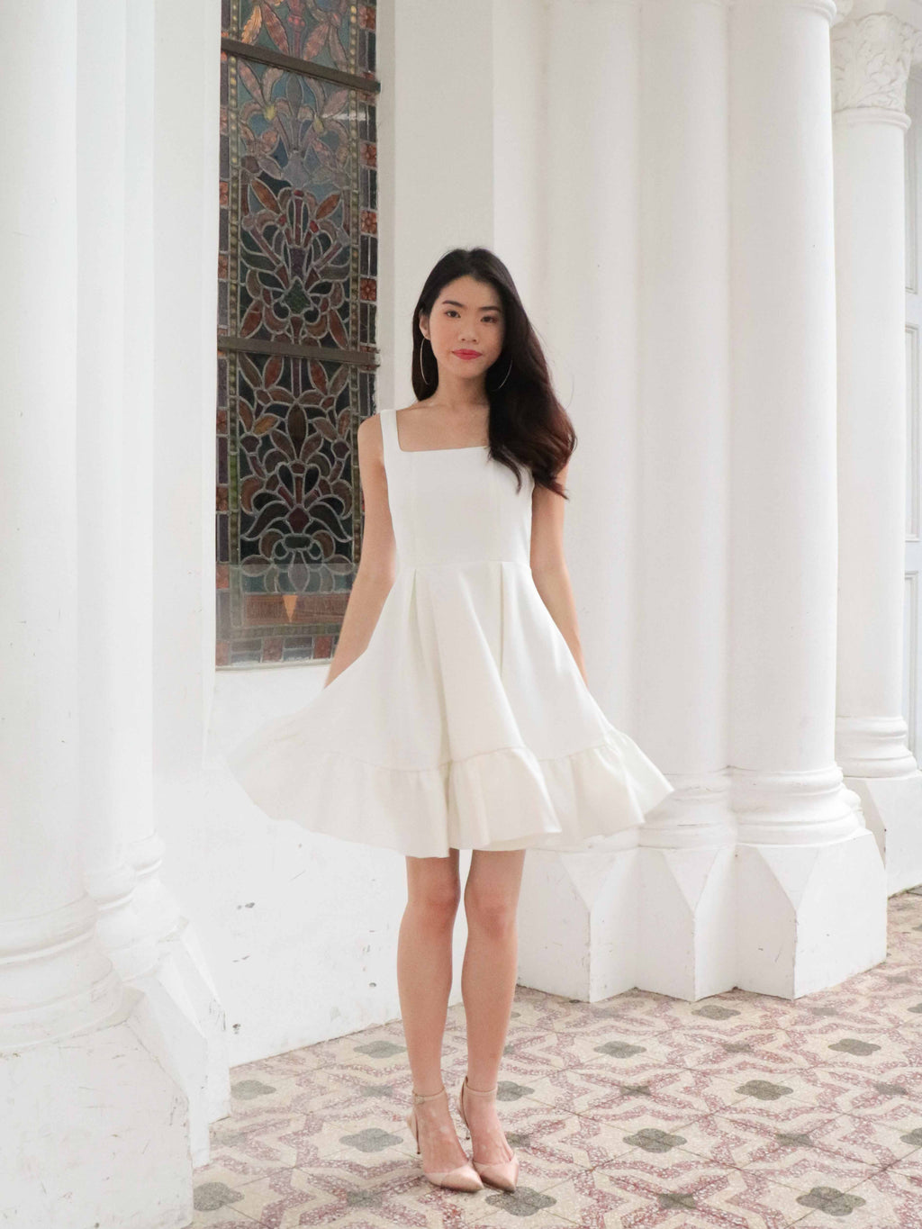 Ariel Ruffles Dress V2 in White