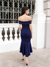 Maureen off-shoulder mermaid dress in Navy