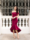 Maureen off-shoulder mermaid dress in Burgundy