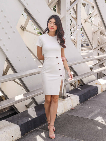 Joslin Slit Dress in White