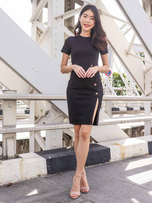 Joslin Slit Dress in Black