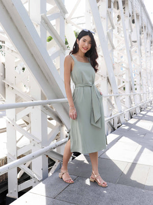 Delia Side Slit Dress in Sage