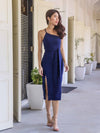 *RESTOCKED* Felly Padded Slit Dress in Navy