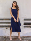 Delia Side Slit Dress in Mid Night Blue