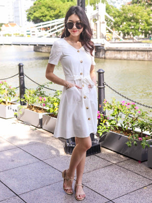 Leah Linen Dress in White
