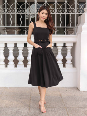 Ros Buckle Dress in Black