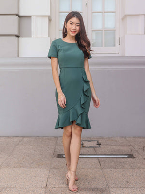 Madeline Ruffles Sleeve Dress in Teal