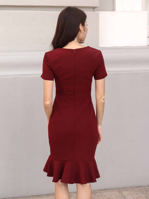Madeline Ruffles Sleeve Dress in Maroon
