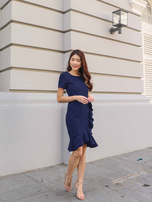 Madeline Ruffles Sleeve Dress in Navy