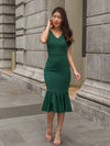 Velly Mermaid Dress in Forest Green