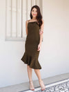 Patty Mermaid Padded Dress in Olive