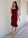 Patty Mermaid Padded Dress in Maroon