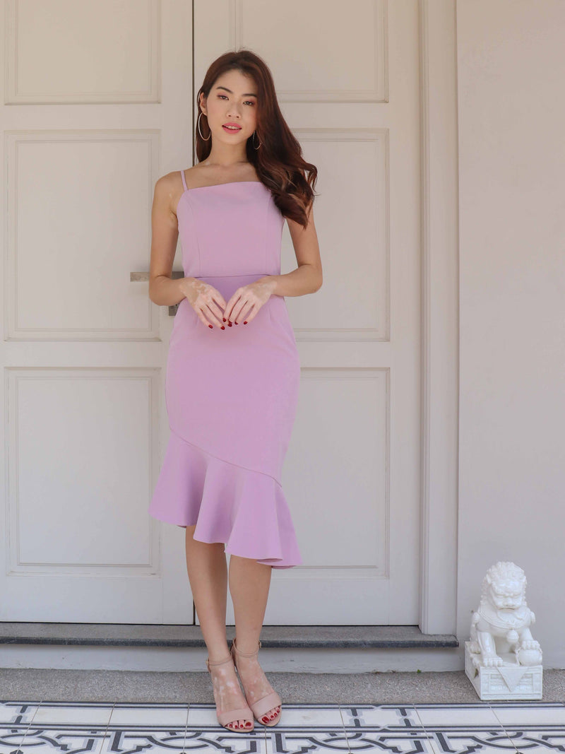 Patty Mermaid Padded Dress in Lilac