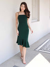Patty Mermaid Padded Dress in Forest Green